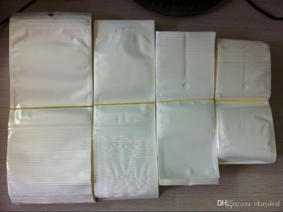 1500 шт. / лот Оптовая пластиковые молнии Розничный пакет сумка для данных кабель автомобильное зарядное устройство сотовый телефон аксессуары упаковка сумка белый + clear