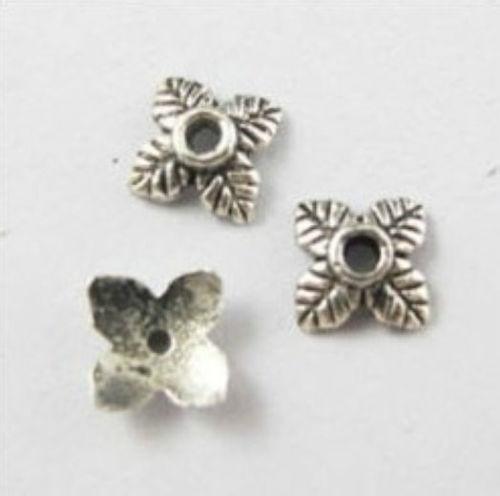 Tom de Prata tibetana Pequena Flor Beads Caps Para Fazer Jóias 6x2mm