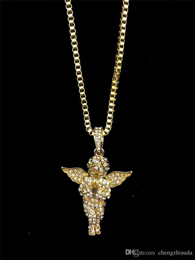 Mens Vintage Angel Wing Pendant Rope Chain 18K Gold Plated Iced Out Necklace 24 Inch Long