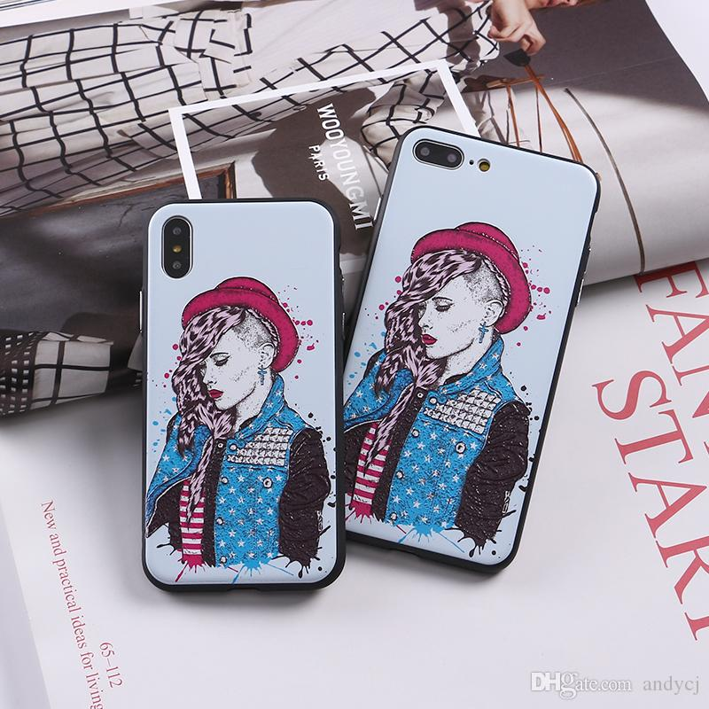 new styles b0ecd 8d906 Summer Cool Red Hat Girl Soft Phone Case For iPhone 7 7Plus 6 6S 6Plus 5 5S  8 8Plus X