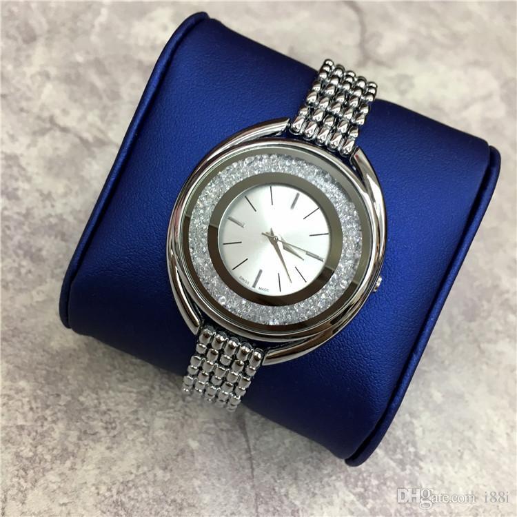 2019 hot vender mulheres de luxo assistir marca de ouro assistir pulseira de aço lady pulseira dress relógios jóias fivela multi cores de rolamento diamantes sexy