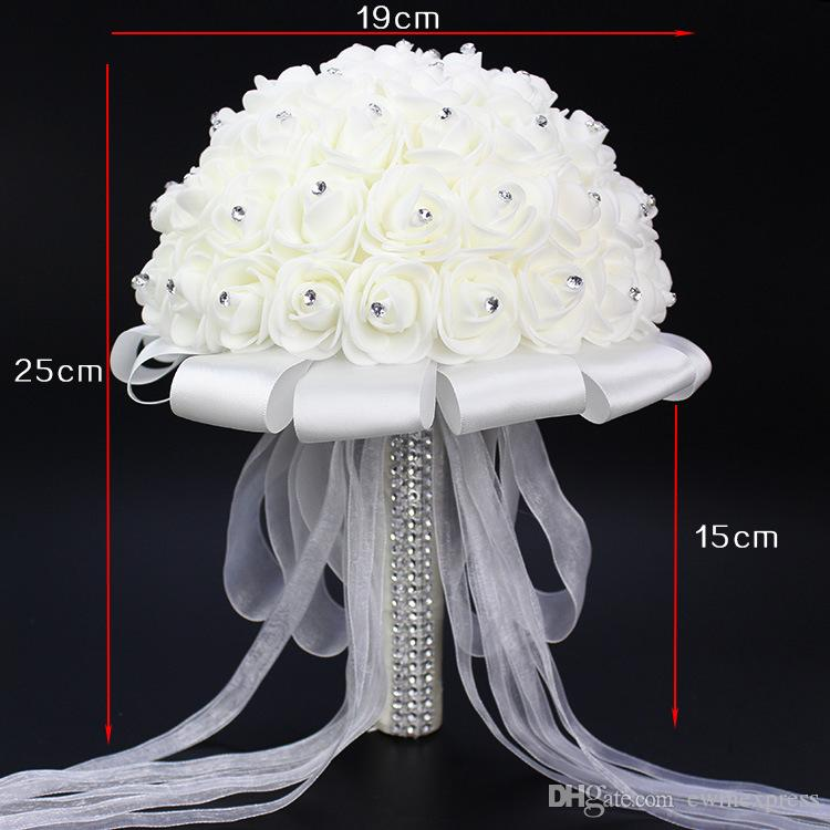 White Wedding Flower Bouquet Handmade Rose Rhinestone Pearl Bridal Bouquet Artificial Foam Flower with Satin 100% Brand New