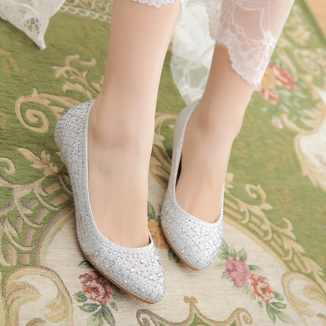 Flat rhinestone sandals for wedding - 2016 Casual Girl Shoes Red Bottom Women Flat Shoes Silver Rhinestone Bride Wedding Shoes Dinner 35 42 Leather Sandals Wedding Sandals From Hls8803