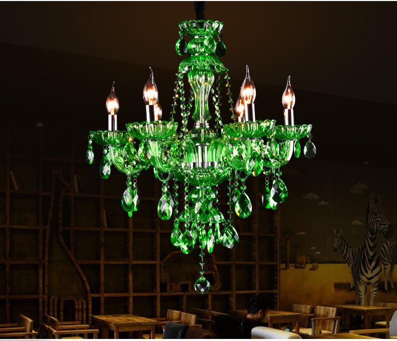 Lampada a sospensione in cristallo verde Lampada a sospensione a lume di candela con candela in cristallo