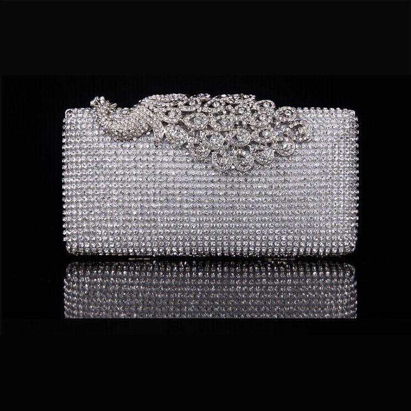 Rhinestone Peacock Evening Bag Net Diamond Clutch Crystal Cutout Purse Hollow Banquet Handbag with Shoulder Chain - YB007