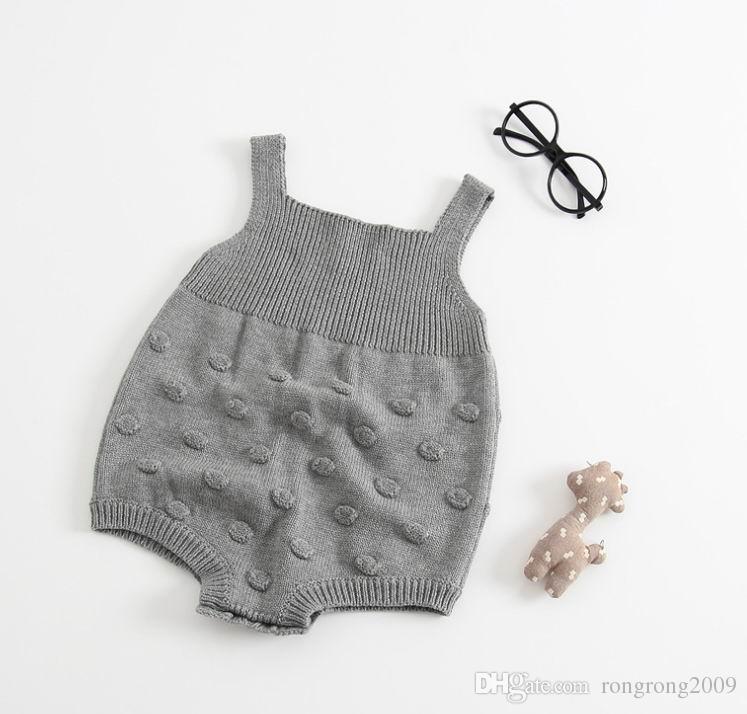 Primavera Outono Meninas Do Bebê Romper Malha De Algodão Bola Bolha Um Pedaço Macacões 0-3Y E17730