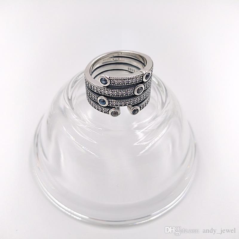 Autentico anelli in argento sterling 925 Shimmering Ocean Ring adatti gioielli in stile Pandora europeo 191002CZF