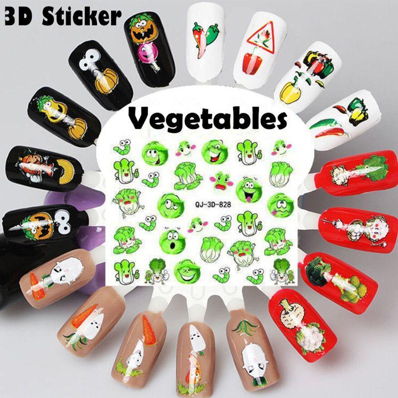 Compre Verdes Diseño De Uñas Vegetal 3d Etiquetas Engomadas Del Arte ...