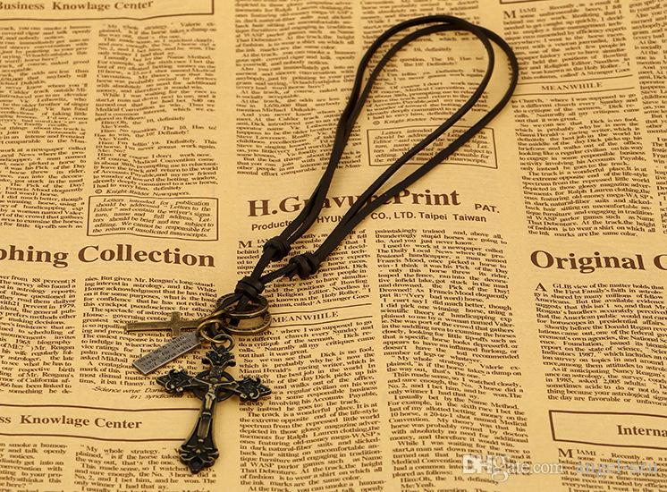 2016 Fashion Pendant Necklace Wrap Multilayer Genuine Leather Alloy Cross Necklace Jewelry Best Christmas Mix Color Gift D823L