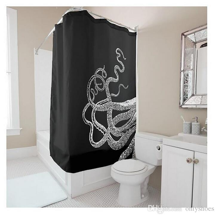 Customs 36/48/60/66/72/80 (W) x 72 (H) Inch Shower Curtain Octopus Tail Waterproof Polyester Fabric Diy Shower Curtain