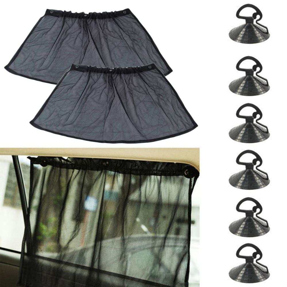 50x75CM Adjustable Car Sun Shades UV Protection Window Curtain Hanging Shield Mesh Cover Car Sun Visor window foil Sunshades Suction Cap