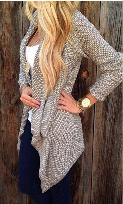 2015081407 Plus Size lavorato a maglia Cardigan Cardigan Feminino femminile Donne Solid Sueter irregolare oversize donne maglione lungo cardigan