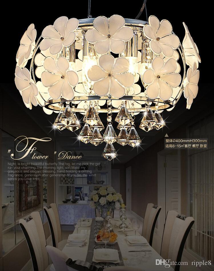 2019 Fog White Glass Flower Chandeliers. Simple And Crystal ...