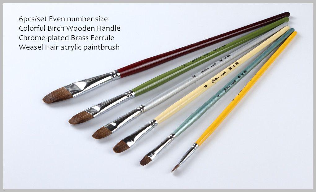6 Pz / set Fabbrica diretta di alta qualità professionale arti e mestieri pennello acrilico prezzo all'ingrosso X3-602 servizio OEM consentire spazzole di olio