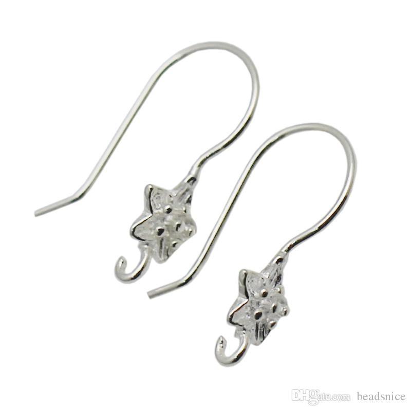 Beadsnice Flower Earring Components Solid Sterling Silver Open Loop Earrings French Hook Nice Gift for Her ID 34927