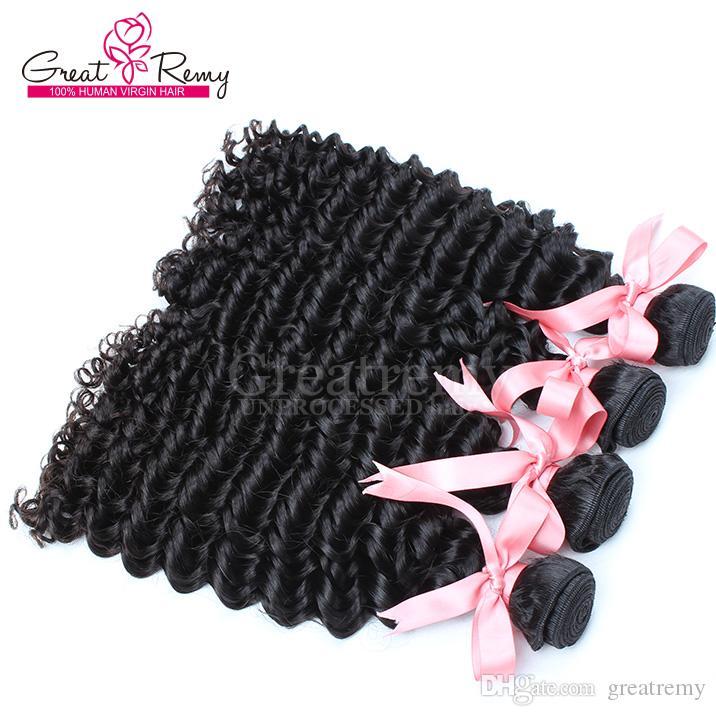 3 unids / lote Sin procesar Virgen Mongolian 8 ~ 30 pulgadas extensión de cabello color natural onda profunda cabello humano cabello doble trama ondulado paquetes