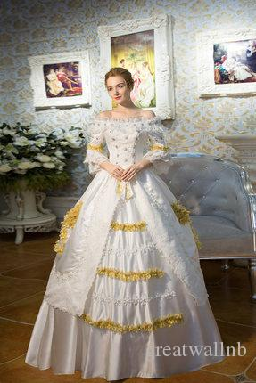 100 Real White Lace Golden Venice Carnival Ball Gown