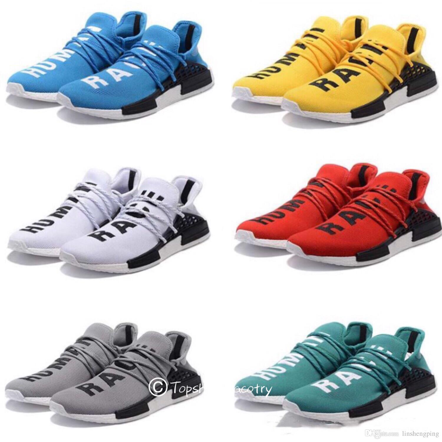 HOT Cheap Pharrell Williams X NMD Human Race NMD Runing shoes Women Men Sports Shoes Athletic Outdoor Shoes Yellow Blue