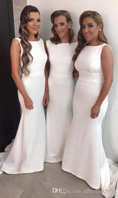 Elegante lange formale Kleider für Frauen Scoop Mermaid Sweep Zug offen Back Bridesmaid-Kleider Weiße Wandelkleider Party Kleider