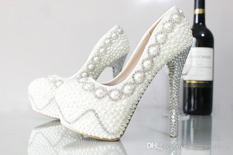 8c211440c252 Elegant Pearls Wedding Shoes with Glitter Crystal Waterproof High Heel  Bridal Shoes Party Prom Luxury Bridal Accessories Custom Made Pearls Wedding  Shoes ...