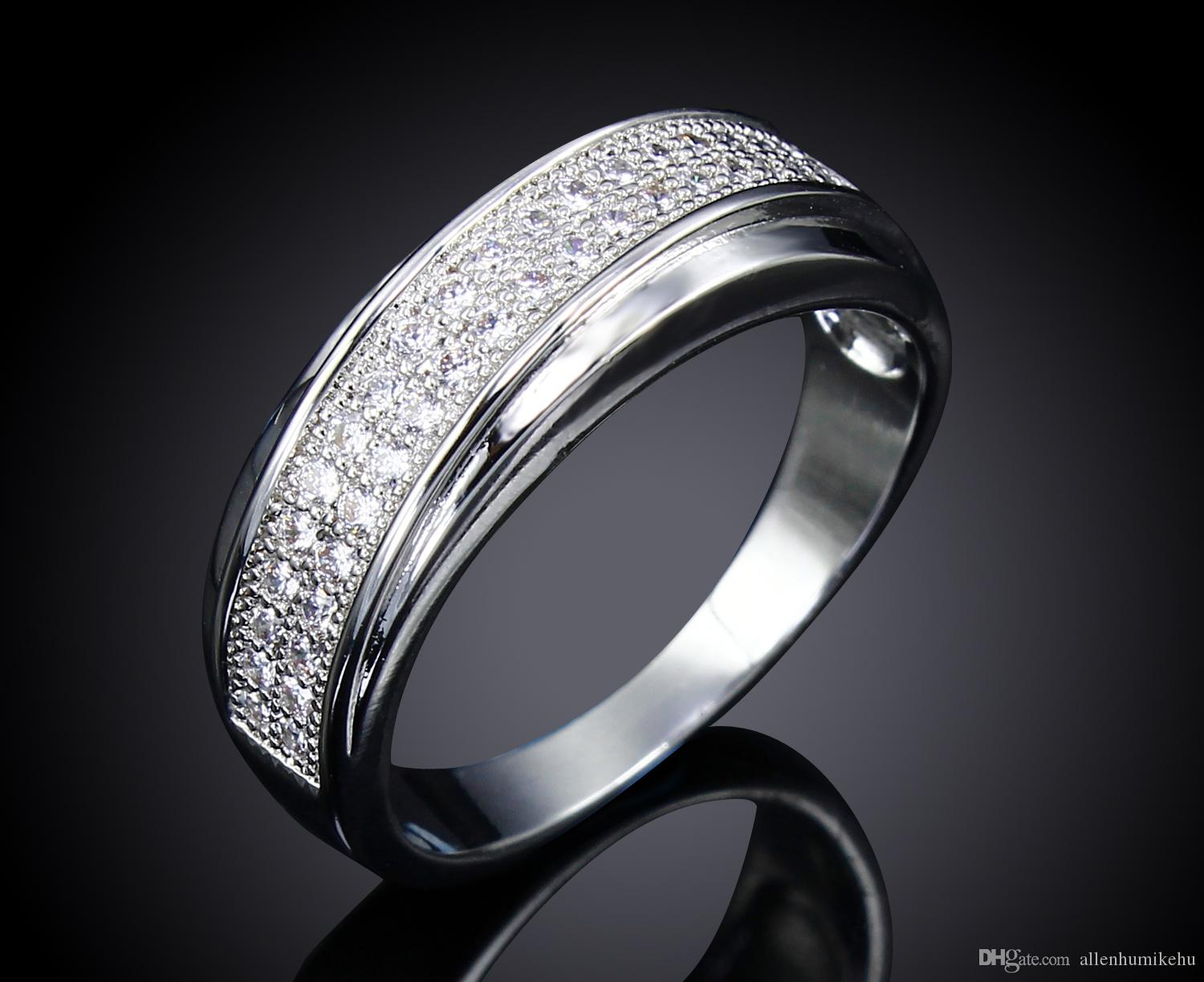 Wedding Bands For Women Real Gold and Platnum Plated with Cubic zirconia Unisex Ring New design Fashion Jewelry