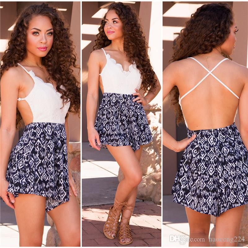 2016 Summer Women Bodysuits Sleeveless White Lace Deep V-Neck Romper Mini Sexy Blackless Print Womens Jumpsuit Playsuit Bodycon Jumpsuits