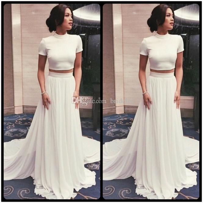Two Piece Pure White Long Prom Dress Simple High Neck Short Sleeve A ...