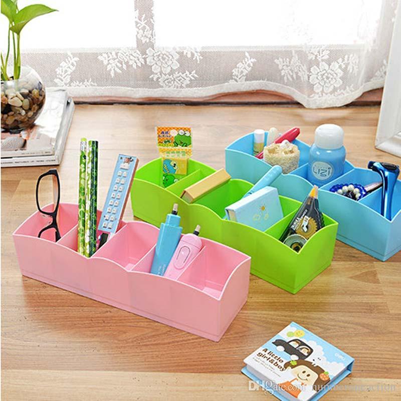5 Grid Drawer Divider Household Underwear Necessities Bra/Sock Storage  Organizer Plastic Storage Box Drawer Desktop Plastic Storage Organizer  Multifunction ...