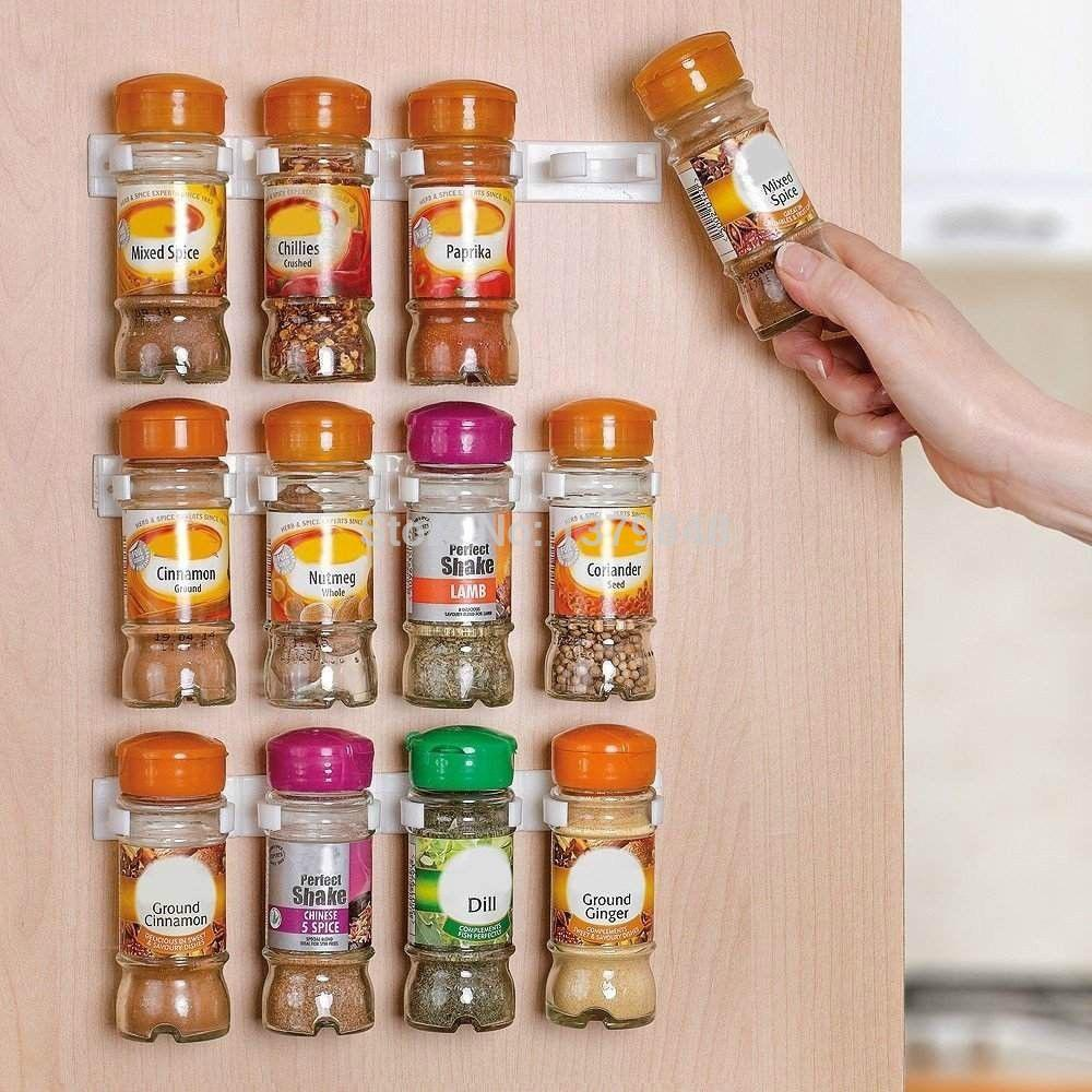 Spice Rack Storage Wall Rack 12 Cabinet Door Spice Clips Spice Rack