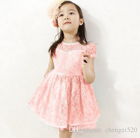 Vestidos da menina do bebê menina dress summer girl lace curto-sleeved princesa dress baby roupas azul rosa branco barco pescoço yh265