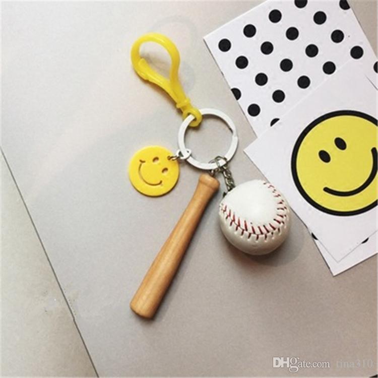 Keychain cartoon ball baseball cats girl boy bear table tennis keychains car pendant doll gift key chain B0684