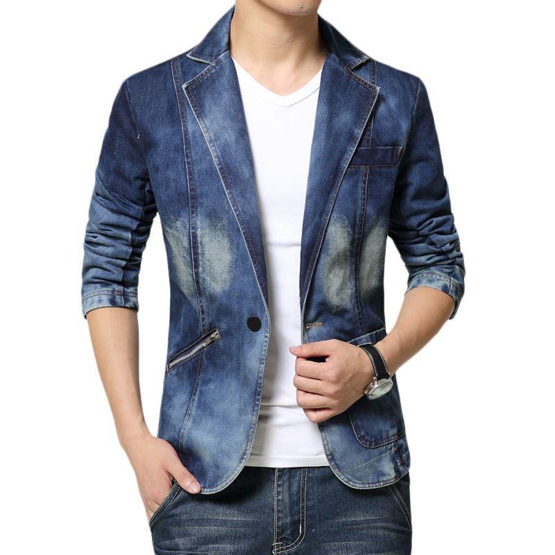 Acquista 2017 Blazer Jeans Uomo One Button Denim Uomo Blazer Slim Fit  Giacche Da Uomo E Giacca Da Uomo Blazer Maschile Jeans Uomo Blezer A  68.17  Dal Acore ... e8ace7e4ad5