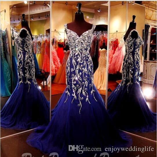 Sparkly Royal Blue Crystal Strass Mermaid Abendkleider Straps Sweetheart Tüll bodenlangen Abschlussball Festzug Abendkleider