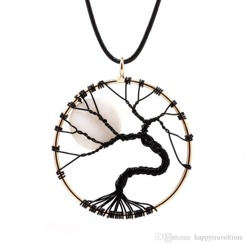 Charms Black Alloy Wire Wrap Bent Tree of Life White Moon Pendant Leather Cord Necklace Charms Jewelry