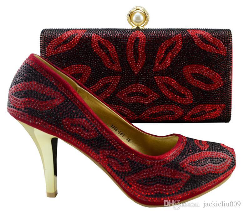 Venda quente estilo oral sapatos de salto alto jogo sacos série Africano sapatos e conjuntos de bolsa para a festa 1308-L61 laranja, calcanhar 9 cm
