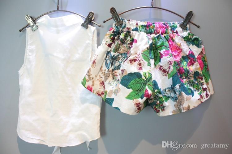 Bebek kızlar kıyafetler kolsuz gömlek + çiçek şort 2 adet çocuk kıyafetler çocuklar butikler giyim seti kız yaz suit