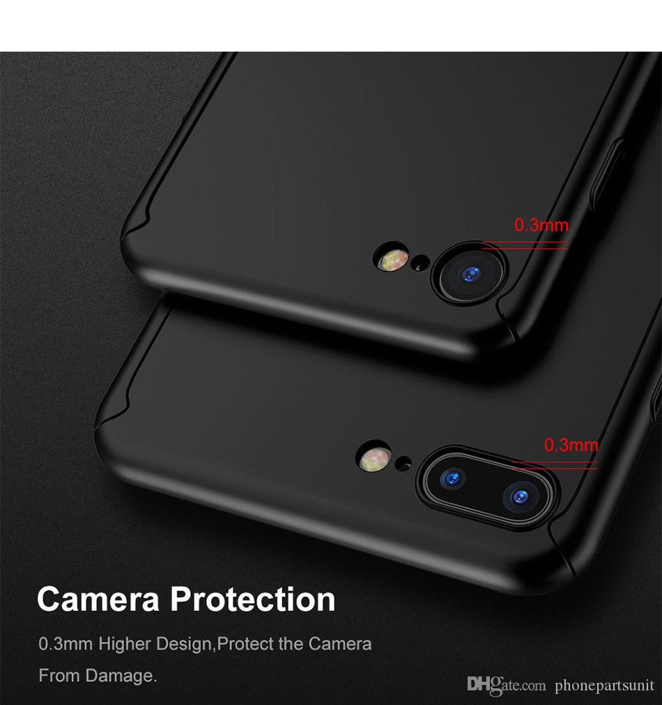 360 Protective Case For iPhone XS XS MAX XR X 8Plus 8 G 6 6S 7 7 Plus Tempered Glass Front Back Cover Full Body Coverage Protection Shells