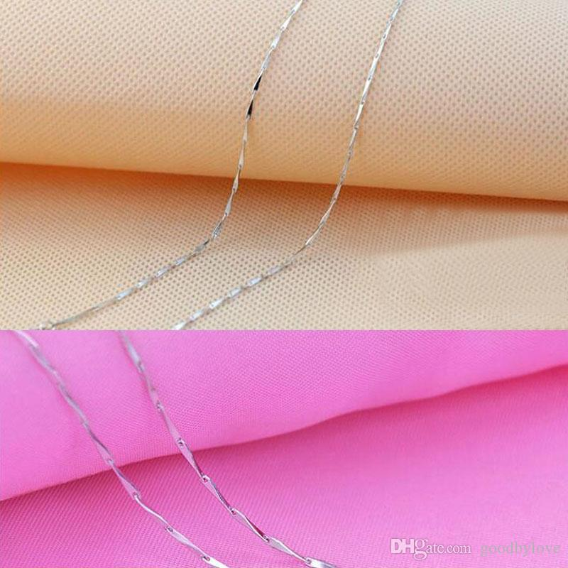 925 Sterling Silver Plated 1MM Slim Seeds Chain Short Choker Necklace for Pendant Charms 45cm/40cm for Women Girls Best Gift