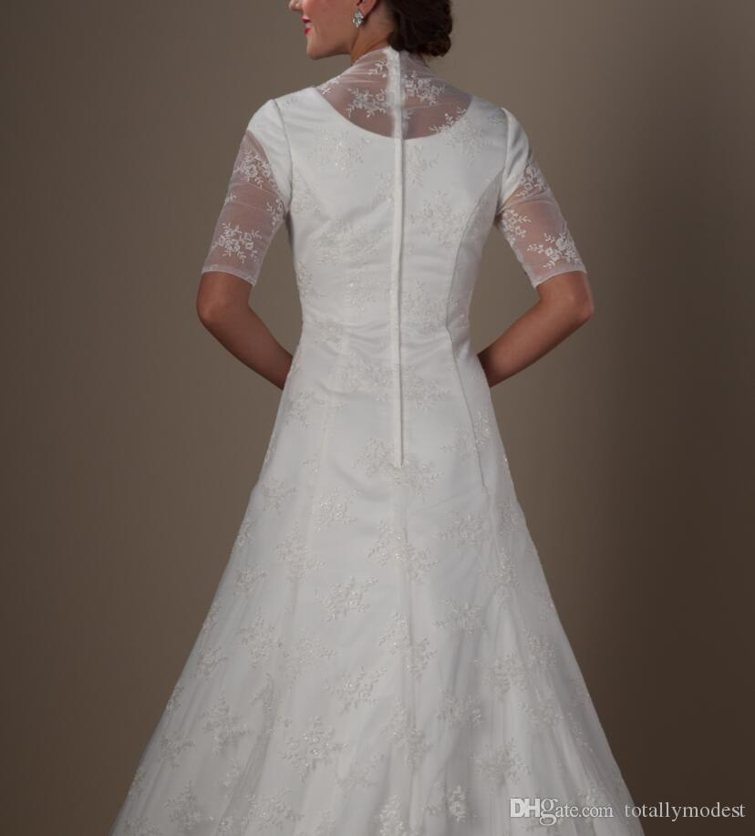 Simple Vintage Ivory Lace Modest Wedding Dresses With Half Sleeves A-line Church 1950s Ceremoney Bridal Dresses Gownsa Custom Made New