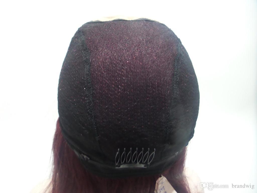 브라질 버진 헤어 라이트 야키 스트레이트 컬러 # M4 / 33 블랙 여성용 자연 헤어 라인이있는 가루없는 풀 레이스 가발 레이스 프론트 가발 Kabell