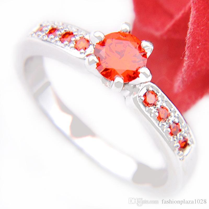 4 st Luckyshine 925 Sterling Silver Rings Crystal Cubic Zirconia Ädelsten Smycken Kvinnor Party Gift Rings # 7 # 8