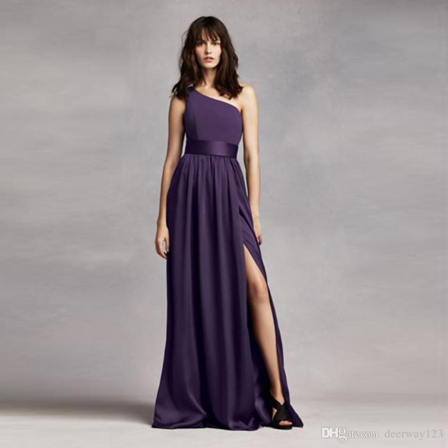 Großhandel Ein Schulter Kleid Mit Satin Schärpe Vw360215 Brautjunfer ...