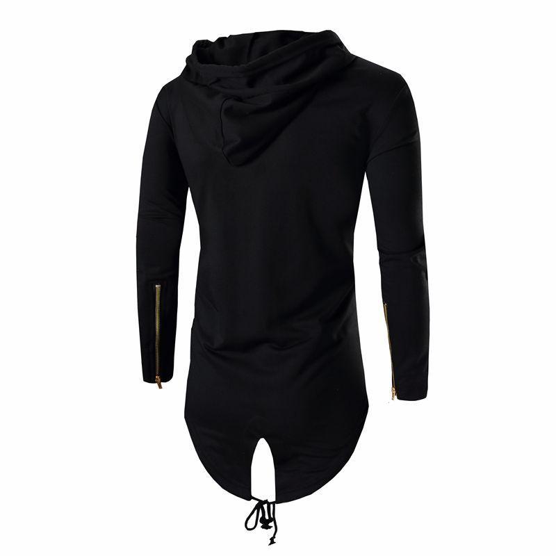 Mode Herbst Schwarz Weiß Mantel Mit Kapuze Sweatshirt Hoodie Männer Streetwear Hip Hop Lange Hoodies Kleidung Herren Oberbekleidung Strickjacke M-3XL