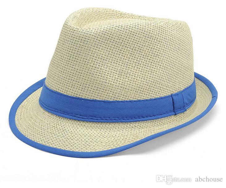 2016 جديد وصول 6 ألوان بنما سترو قبعات فيدورا بلون الكتان الجاز القبعات أزياء الربيع الصيف شاطئ قبعة الشمس