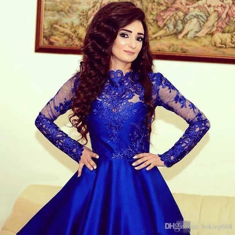 Compre Vestidos De Fiesta De Satén Corto Azul Claro Elegante Con ...