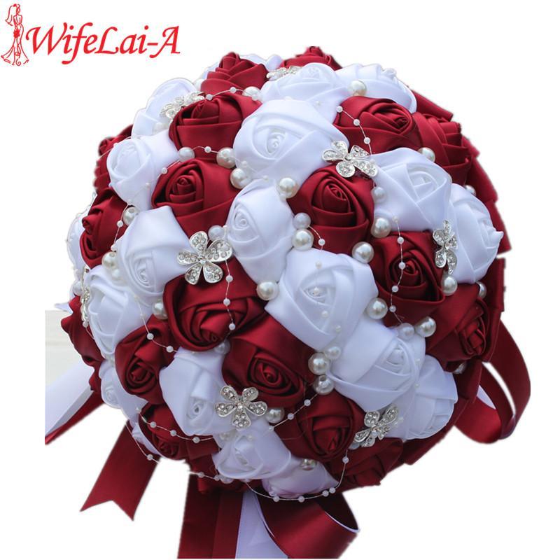 2018 Ramos De Novia Burgundy Red White Crystal Bridal Bouquet Custom ...