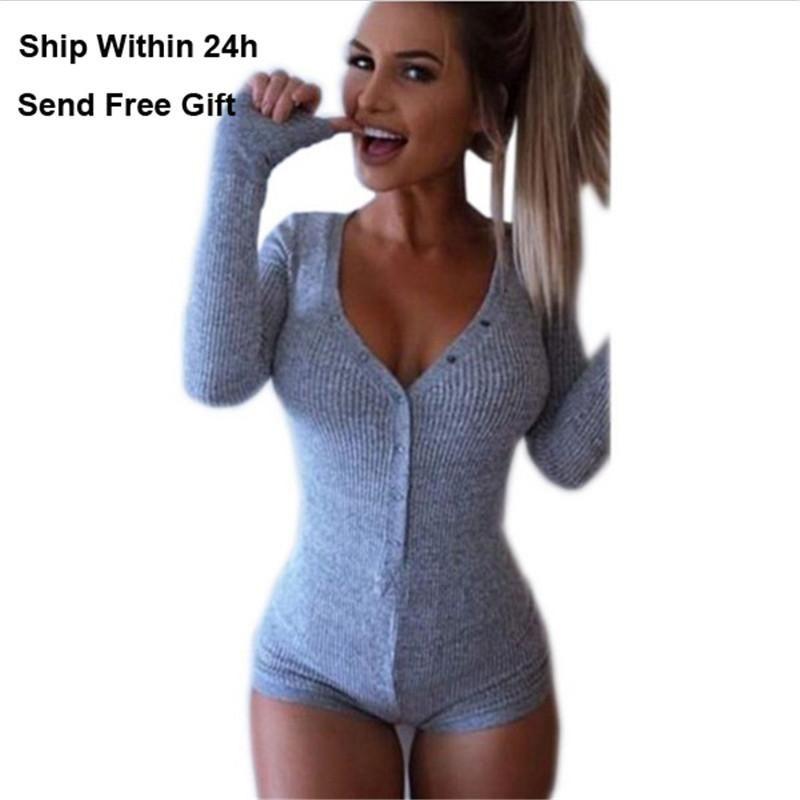 1f1d243254 2019 New Sexy Deep V Neck Bodysuit Women Tops Elastic Long Sleeve Short  Jumpsuit Rompers Knitted Skinny Womens Rompers Jumpsuit Playsuit From  Swimwear3