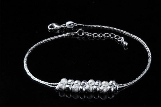 Chaîne de cheville en argent sterling 925 avec 16 perles en argent, bracelets de cheville, cadeaux pour les filles, pied de chaîne, sandales aux pieds nus
