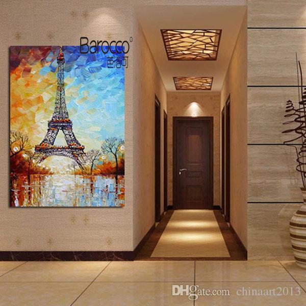 Башня пейзаж абстрактная живопись чистая ручная роспись современное искусство картина маслом на холсте украшения стены дома или офиса