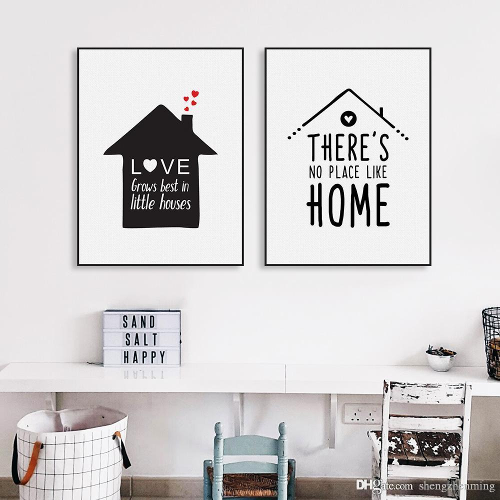 Best Black White Nordic Minimalist Houses Love Quotes A4 Canvas Art ...